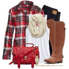 Red plaid shirt, Cream knit scarf & Riding boots