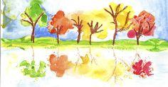 Enkelt sätt attmåla höstträd som speglar sig i vattnet... Måla stammar med pastell , Färglägg träden med vattenfärg i höstfärger på övre h...
