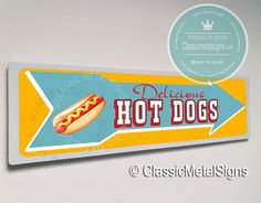 Classic Style Hot Dog Sign – UV Protected Weatherproof Signs Suitable for Outdoor or Indoor Use – Exclusively from Classic Metal Signs