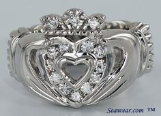 Custom made diamond Celtic Claddagh ring with diamnds. Wonderful Claddagh wedding, engagement, promise or just because Claddagh ring in gold, white gold, rose gold or platinum. Jewelry Box, Jewelery, Jewelry Accessories, Irish Rings, Irish Jewelry, Claddagh Rings, Diamond Are A Girls Best Friend, Bling, Wedding Rings