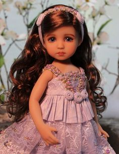 """Diana Effner's 13"""" Little Darling Sculpt #4 - Painted and Dressed by Magalie Dawson. • Audrey is a Little Darling #4 regular skin tone with meticulously painted blue violet eyes and long wavy brown hair. 