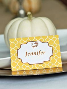 The Finishing Touch--Complete your Thanksgiving table with printed place cards. Just fill in the name of each guest, or if you're serving buffet style, use these cards to identify each dish. Diy Place Cards, Printable Place Cards, Name Place Cards, Name Cards, Cards Diy, Free Printable, Printable Designs, Printables, Autumn
