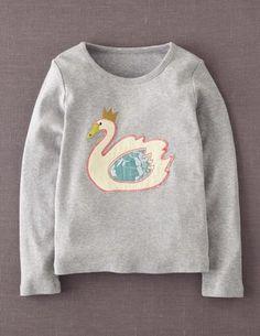 I've spotted this @BodenClothing Velvet Appliqué T-shirt Grey Marl Swan