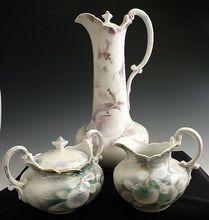 Weimar German porcelain chocolate pot set