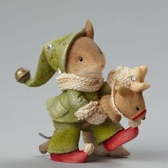 Karen Hahn Foundations Heart Of Christmas Mouse On Toy Reindeer New 2015 4046840