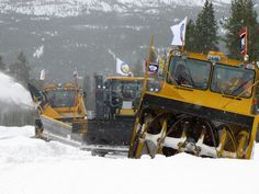 WYDOT crews began clearing snow from Flagg Ranch toward Yellowstones South Entrance this morning