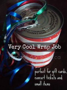 How to Wrap a Small Gift in a Pull-Tab Can - Happy Hooligans very cool wrap job (perfect for gift cards, concert tickets, cash.) - happy hooligans How to Wrap a Small Gift in a Pull-Tab Can - Happy Hooligan Happy Hooligans, Creative Gifts, Cool Gifts, Creative Ideas, Christmas Fun, Holiday Fun, Holiday Ideas, Modern Christmas, Gift Card Presentation