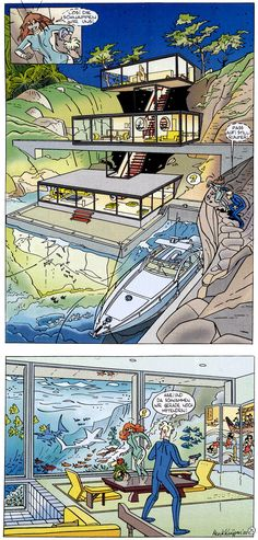 The Dutch strip Franka by Henk Kuijpers has beautiful, detailed drawings with lots of action. You'll also see fine examples of architecture and perspective in this comic.
