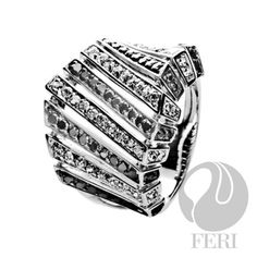 - .925 fine sterling silver - 0.1 micron natural rhodium  Set with:  - AAA white and black cubic zirconia  Invest with confidence in FERI Designer Lines https://www.globalwealthtrade.com/vdm/display_item.php?referral=jgala&category=12&item=3133&cntylng=&page=8