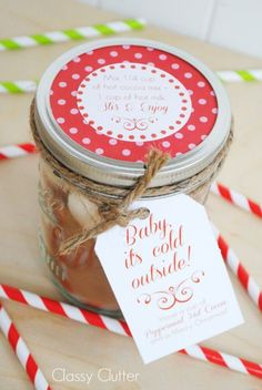Great teacher gift! Hot cocoa in a jar - use whatever kind of hot chocolate mix you want - not a recipe how to make hot chocolate mix except for extra added ingredients like crushed candies or marshmallows.