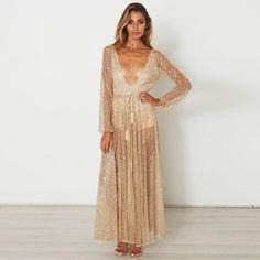 2bb7b2a67f6d Sexy Gold Sequined Long Sleeves Maxi Dress. Paillettes D oroAbiti Da Sera  DoratiAbiti Da SeraVestiti ...