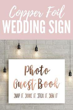 Copper foil wedding sign // Photo Guest Book sign // Snap it // Camera print // Wedding signs // Wedding prints // Copper wedding. #wedding #etsy #gold #affiliate
