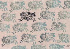 Black sheep / Linocut / Tiina M. Suomela