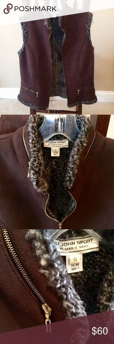 St. John Sport Vest w/ Faux Fur Lining Cozy chocolate brown vest from St. John Sport by Marie Gray.  Contrasting faux fur lining and interesting gold zipper details make this a standout option for fall.  Size small. St. John Jackets & Coats Vests