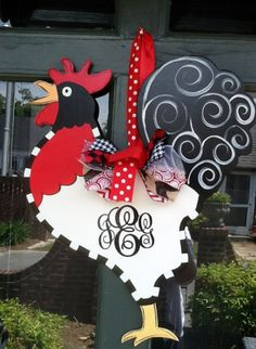 Rooster Door Hanger with Monogram. Would look so lovely on your front door April! Share with the world your love of all things rooster! Chicken Crafts, Chicken Art, Chicken Coup, Chicken Houses, Chicken Signs, Painted Doors, Painted Signs, Wooden Doors, Wooden Signs