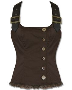 Spin-Doctor-Aurora-Corset-Top-Brown-Steampunk-VTG-Faux-Leather-Vest-Tank