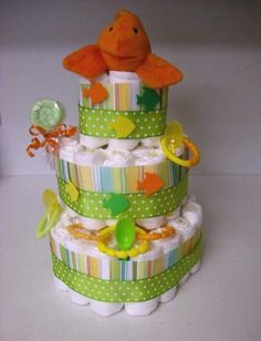 Goldfish_gender_nutral_daiper_cake Baby Goldfish, Diaper Cakes, Cakes And More, Children, Baby Showers, Shower Ideas, Gender, Crafts, Games