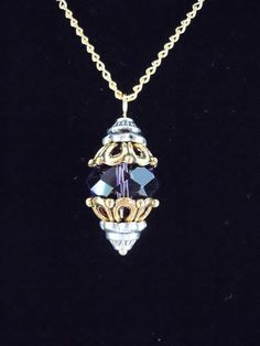Purple Crystal Necklace Framed in Silver and Gold by DebbieRenee, $19.00