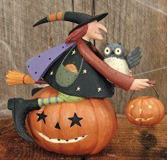 Witch Riding Pumpkin With Owl Figurine – Halloween Folk Art & Collectibles – Williraye Studio - $40.00