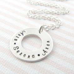Family Washer Personalized Necklace  by prolifiquejewelry on Etsy, $39.00