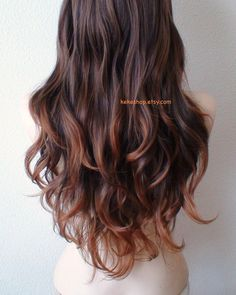 WIGS!!! JUST BECAUSE I CANBrown / Auburn ombre wig. Long curly hair long side by kekeshop