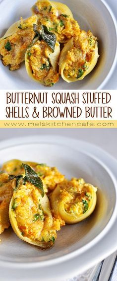Butternut Squash Stuffed Shells with Sage Browned Butter These butternut squash stuffed shells with sage browned butter are elegant and delicious. It is a perfect dish to make for company. - Butternut Squash Stuffed Shells with Sage Browned Butter Butter Squash Recipe, Butter Recipe, Pasta Casera, Cooking Recipes, Healthy Recipes, Vegetarian Recipes Gourmet, Vegan Food, Vegetarian Stuffing, Vegetarian Pasta Dishes