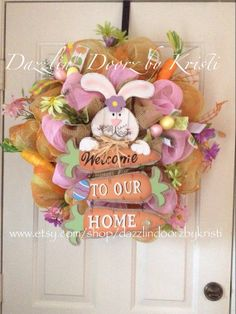 Burlap Easter Wreath  Spring Welcome by DazzlinDoorzbyKristi, $85.00