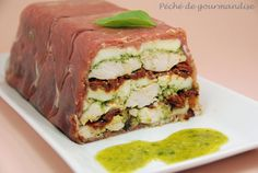 Chicken Terrine with Pesto and Dried Tomatoes - Feast of Gluttony - Trend Appetizer Fine Dining 2019 A Food, Good Food, Food And Drink, Yummy Food, Chicken Terrine, No Salt Recipes, Cooking Chef, Exotic Food, Appetisers