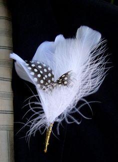 white feather boutonniere | Buttonholes Boutonni re Black & White Quail Feathers