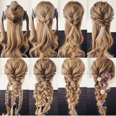 Variation of the comfortable hair arrangement, even if there are several. self frisuren haare hair hair long hair short Everyday Hairstyles, Long Hairstyles, Pretty Hairstyles, Wedding Hairstyles, Updos Hairstyle, Brunette Hairstyles, Bouffant Hairstyles, Mermaid Hairstyles, Barbie Hairstyle