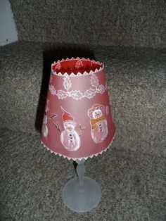 Beautiful handmade parchment Lampshade for Christmas decoration,  tea light holder.  Snowmen and Holly.