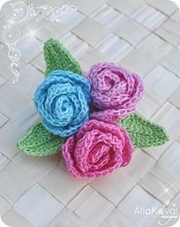 Little Roses Brooch. Made with size 10 crochet thread, but you could make bigger ones with yarn instead.  Bow Dazzling Volunteers, back with an alligator clip and felt circle for a sweet hair or headband accessory.