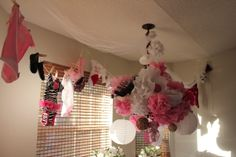 Baby girl clothesline and paper chandelier