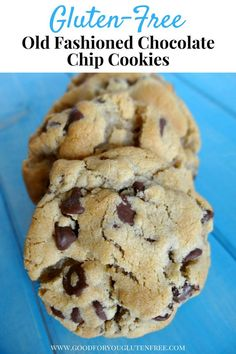 Give these Good Old Fashioned Gluten-Free Chocolate Chip Cookies a try. They bake up soft and chewy! Who doesn't love a soft and chewy cookie? free desserts, Good Old Fashioned Gluten-Free Chocolate Chip Cookies Gluten Free Cookie Recipes, Gluten Free Sweets, Gluten Free Chocolate Chip Cookie Recipe, Easy Gluten Free Cookies, Nut Free Cookies, Flourless Chocolate Chip Cookies, Gluten Free Christmas Cookies, Wheat Free Recipes, Baking Chocolate