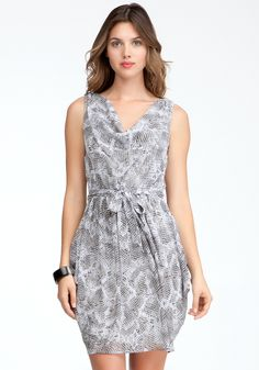 Printed Cowl Neck Dress - Snake Skin #11 - M