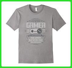 Mens 40th Birthday Old School Gamer Never Die T-Shirt XL Slate - Gamer shirts (*Amazon Partner-Link)