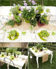 you could also plant fresh herbs or greens instead of flowers as the centerpieces