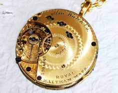 Steampunk Necklace - EXCEPTIONALLY RARE Waltham ROYAL Grade Gold Gilt Antique Pocket Watch Movement Men Steampunk Necklace - Christmas Gift. $155.00, via Etsy.