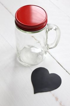 Peekaboo Heart Mason Jar: The easy way to create a Peekaboo Heart Mason Jar for Valentine's Day, a wedding, anniversary or any special occasion! Mason Jar Crafts, Mason Jars, Canning Jars, Love Valentines, Tuesday, Mugs, Heart, Tableware, Creative