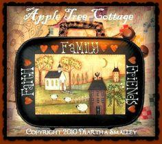 "E Pattern - Martha Smalley's Apple Tree Cottage Designs - ""Faith, Family & Friends Suitcase"". $5.00, via Etsy."