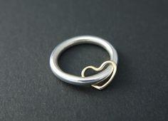 Silver Spinner Ring - Worry Ring - Fidget Ring - Heart Charm £84.05
