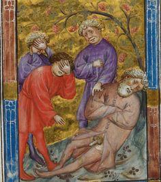 Ham mocking drunken, naked Noah, Shem and Japheth covering their eyes, Genesis 9:20-24. Biblia Pauperum, Netherlands ca. 1395-1400. British Library, Kings 5, fol. 15r
