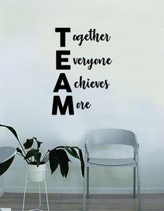 Team Together Everyone Achieves More Quote Decal Sticker Wall Vinyl Art Home Room Decor Teach. Team Together Everyone Achieves More Quote Decal Sticker Wall Vinyl Art Home Room Decor Teacher School Classroom Science Work Office Job , Office Wall Decor, Office Walls, Room Decor, Office Break Room, School Office Decorations, School Wall Decoration, Office Artwork, Cheap Office Decor, Vinyl Wall Decals