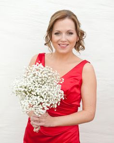 Gypsophilia winter wedding bouquet. This would be pretty with cranberries added in