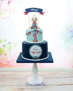 Little sailor - cake by DomiCakesArt Baby Boy 1st Birthday Party, Birthday Cakes, Beautiful Cakes, Amazing Cakes, Sailor Cake, Baby Shower Cakes, Baby Cakes, Nautical Cake, Cake Design