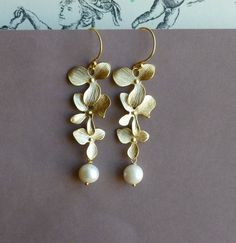 Three Gold Orchid and Freshwater Pearl by tinycottagetreasures, $28.00