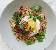 Make extra grains on Sunday and use them for this lightning-quick weeknight dinner. Stir-fried grains with shrimp and eggs
