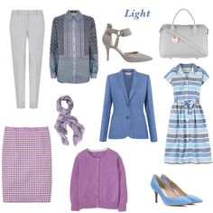 capsule wardrobe -  for light colouring - silver grey, mauve mist, sky blue.
