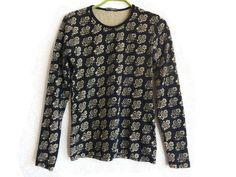 MARIMEKKO Black & Light Brown Shirt Floral Top Women's Long Sleeves Cotton…
