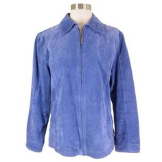 CHICOS Blue Suede Leather Jacket Size 1 S/M Zipper Front Lined #Chicos #BasicJacket